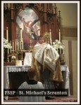 Saint Michael's pastor, Fr. Jose Zepeda, FSSP, administers benediction of the Most Blessed Sacrament.